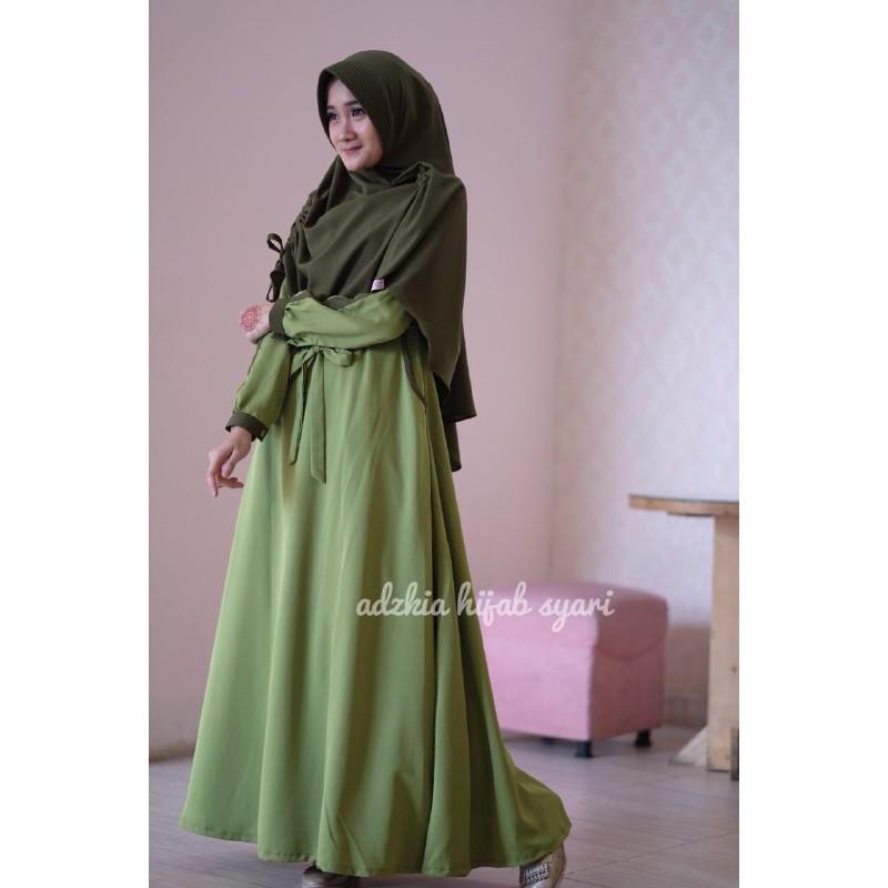 Gamis Nadia Hijau Lumut Original By Adzkia Hijab Shopee Indonesia