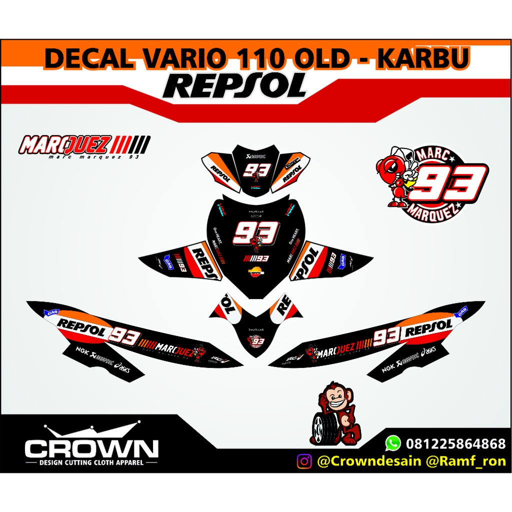 Decal honda vario 150 125 150 redpaint shopee indonesia
