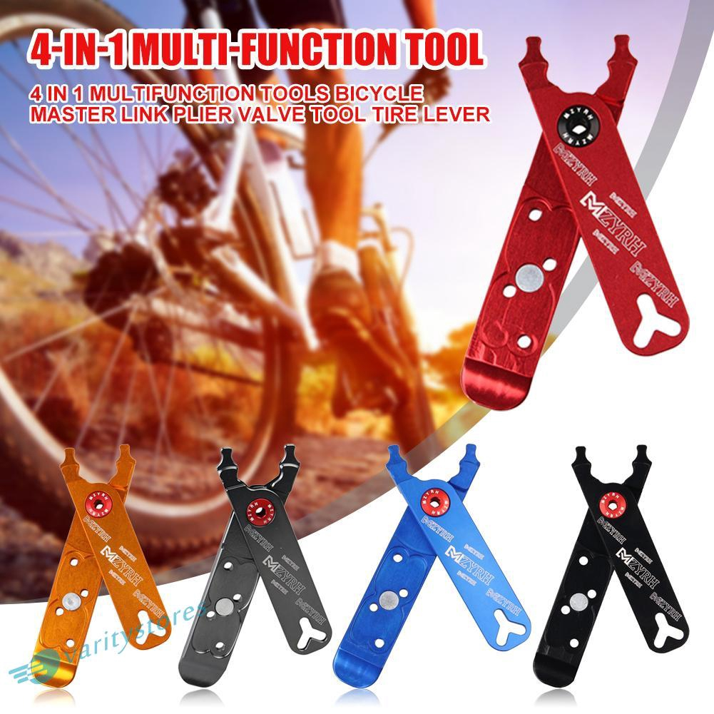 4 in 1 Bicycle Repair Tool Bike Tire Lever Master Link Pliers Valve Tool