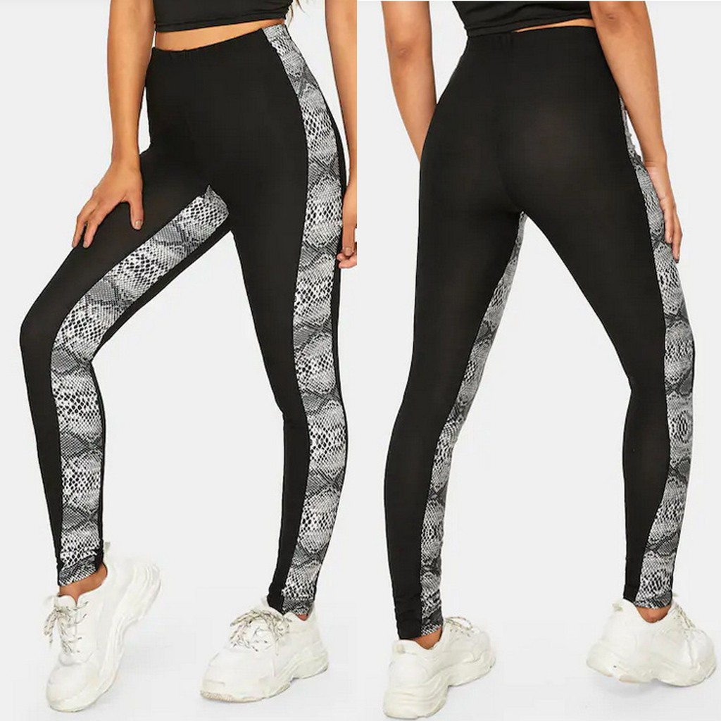 Ingingramgogo Celana Legging Panjang Casual Model Sambungan Motif Print Ular Untuk Wanita Shopee Indonesia
