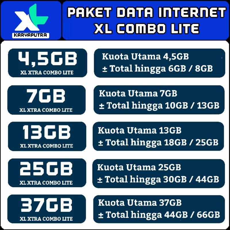VOUCHER XL COMBO LITE 1GB 2GB 3GB 4,5GB 7GB 13GB 25GB 37GB ISI ULANG XL HOTROD XTRA PLUS KUOTA MINI