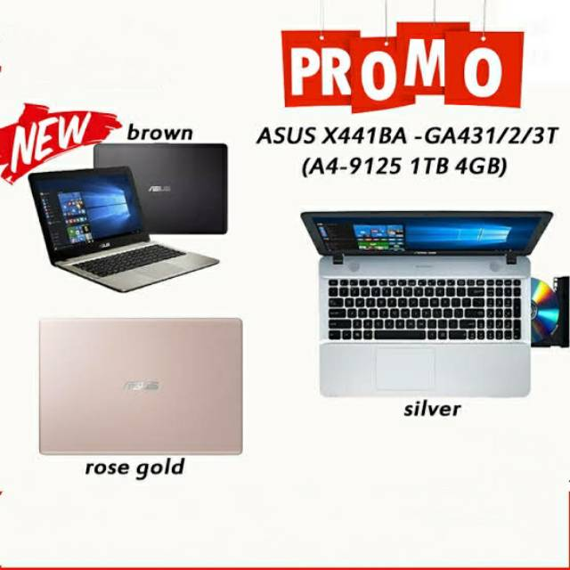 Laptop Asus X441ba Hdd 1tb Amd A4 9125 4gb 1tb 14 Dvd Win10 Resmi Shopee Indonesia
