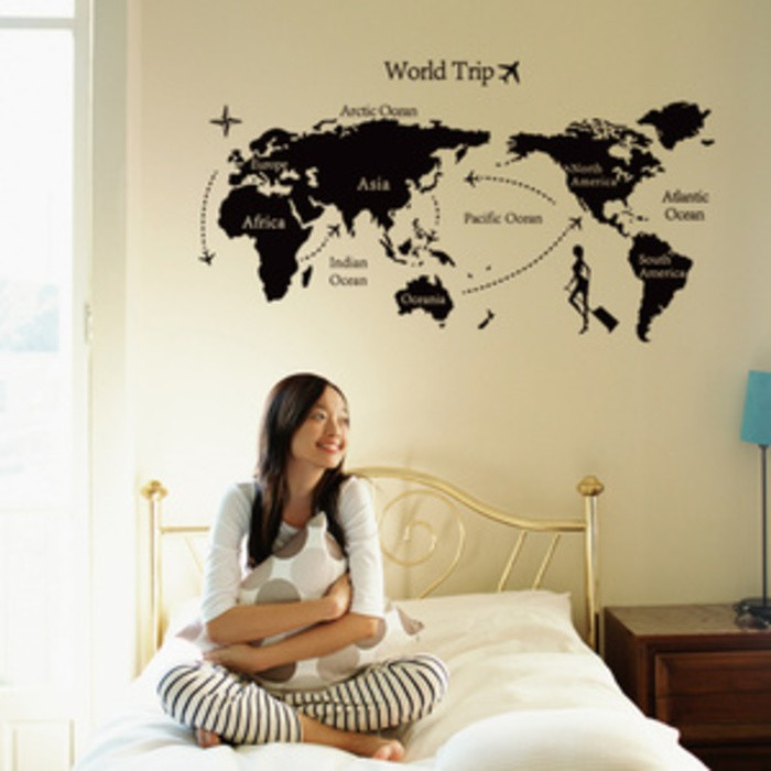 Stiker Dinding Wallpaper 60x90cm Motif Karakter Peta Dunia Globe Hitam Putih Traveling Adventure Shopee Indonesia