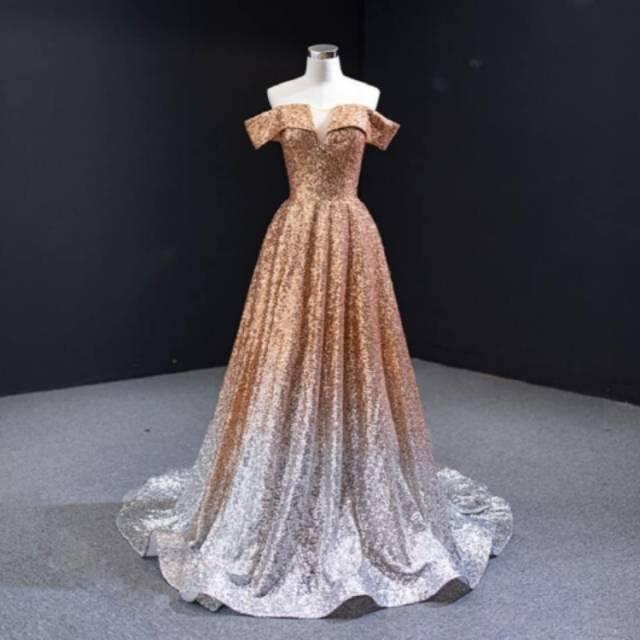 Wedding Mart 1 Gaun Pengantin Gaun Pesta Pernikahan Mewah Emas Perak Payet Bling Big Ball Gown Shopee Indonesia