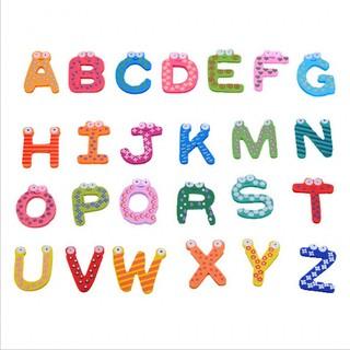 [Bayar Di Tempat]26 Pcs Lucu Surat Alphabet Kayu Magnet Kulkas Pendidikan Mainan Untuk Bayi Anak