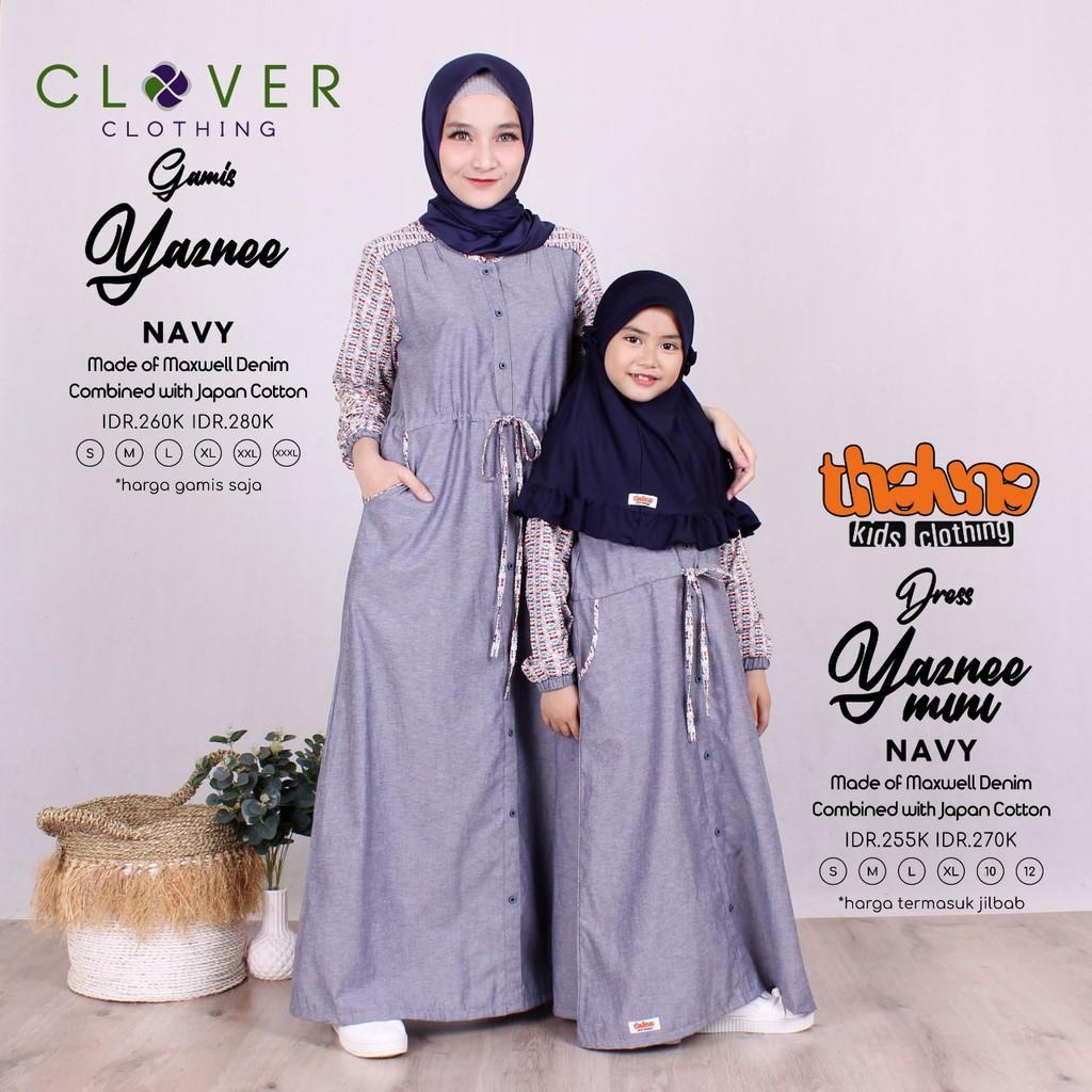Limited Gamis Couple ibu dan anak Yaznee Original Thaluna Clover - Baju  muslim denim mix katun ori