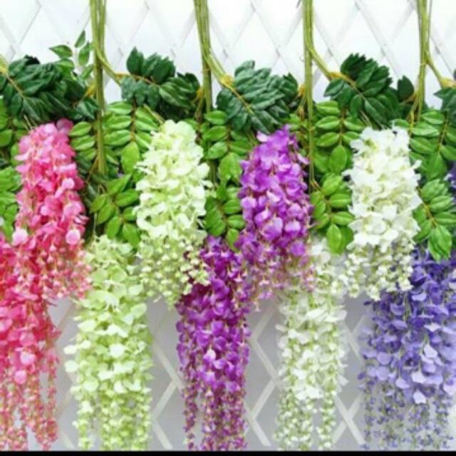 Bunga Juntai Daun Juntai Bunga Wisteria Pelengkap Dekorasi Warna Hijau Dan Putih Shopee Indonesia
