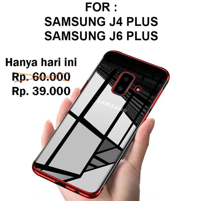 reputable site eeac9 3d258 TPU PLATING case Samsung J4 Plus - J6 Plus 2018 softcase casing cover  transparan