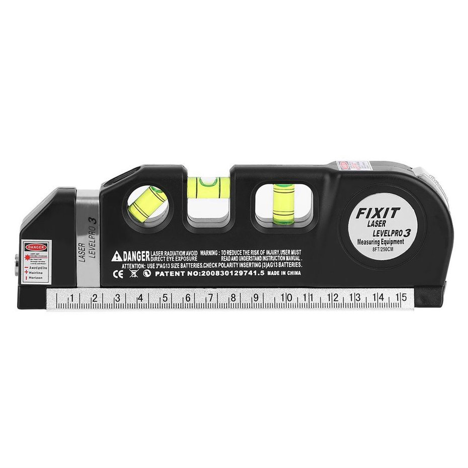 Multi-Purpose Laser Level With 8ft//2.5M tape measure and 3 Batteries Included