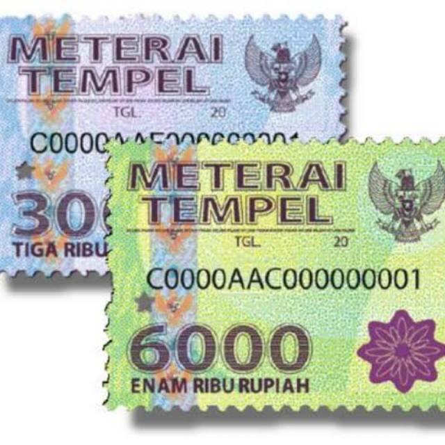 Materai Tempel Materai 6000 Materai 3000