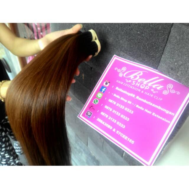 P 50cm Hair Extension Rambut Sambung Smothing Warna Coklat Tebal Shopee Indonesia