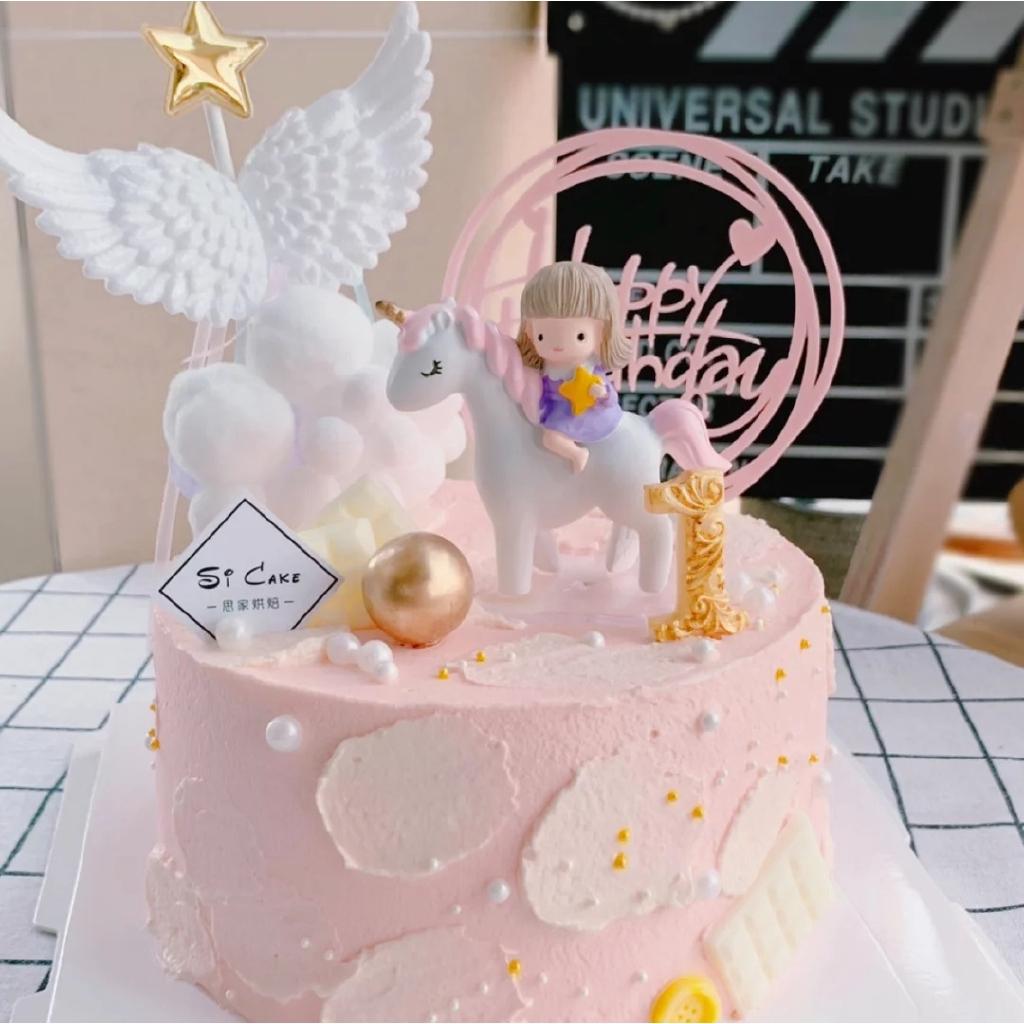 Naik Sedikit Putri Unicorn Putih Pink Gadis Kuda Hiasan Kue Ulang Tahun Hiasan Venus Malaikat Sayap Shopee Indonesia