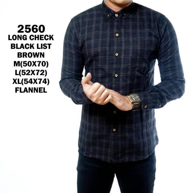 JJS Kemeja Pria Flanel Black list Brown | Kemeja Panjang Flannel Kotak kotak 2560 | Shopee