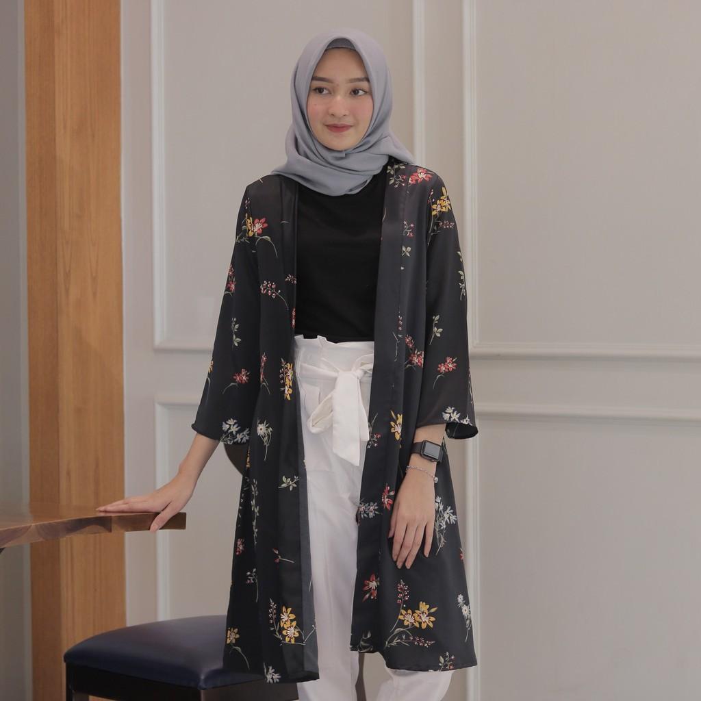 Fringe Rosey Outer Cardigan Motif Bunga Kardigan Wanita Shopee Asymmetric Kimono Jaket Jk435 Indonesia