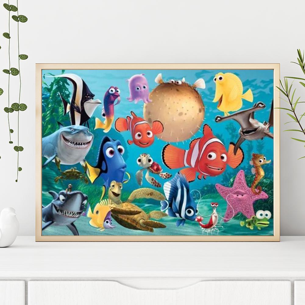 Lukisan Diamond 5d Diy Gambar Ikan Kartun Untuk Dekorasi Rumah