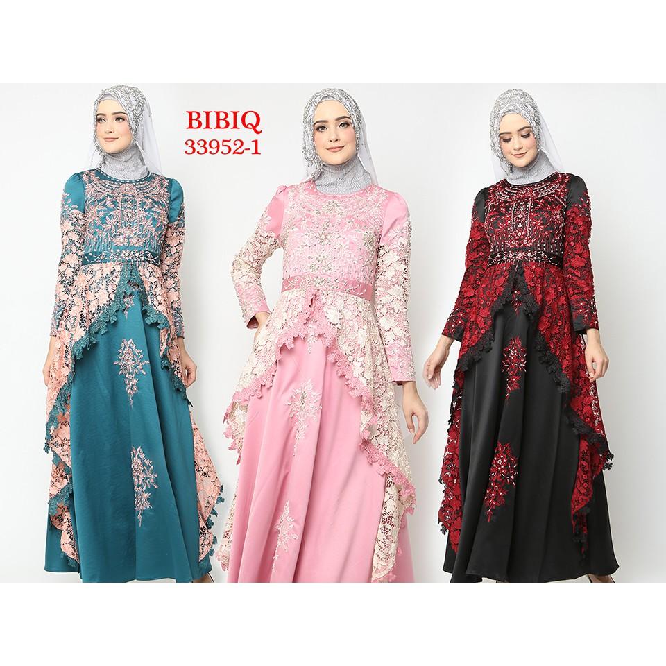 Gamis Pesta Baju Muslim Mewah BIBIQ Terbaru Bahan Brokat Satin 122-12