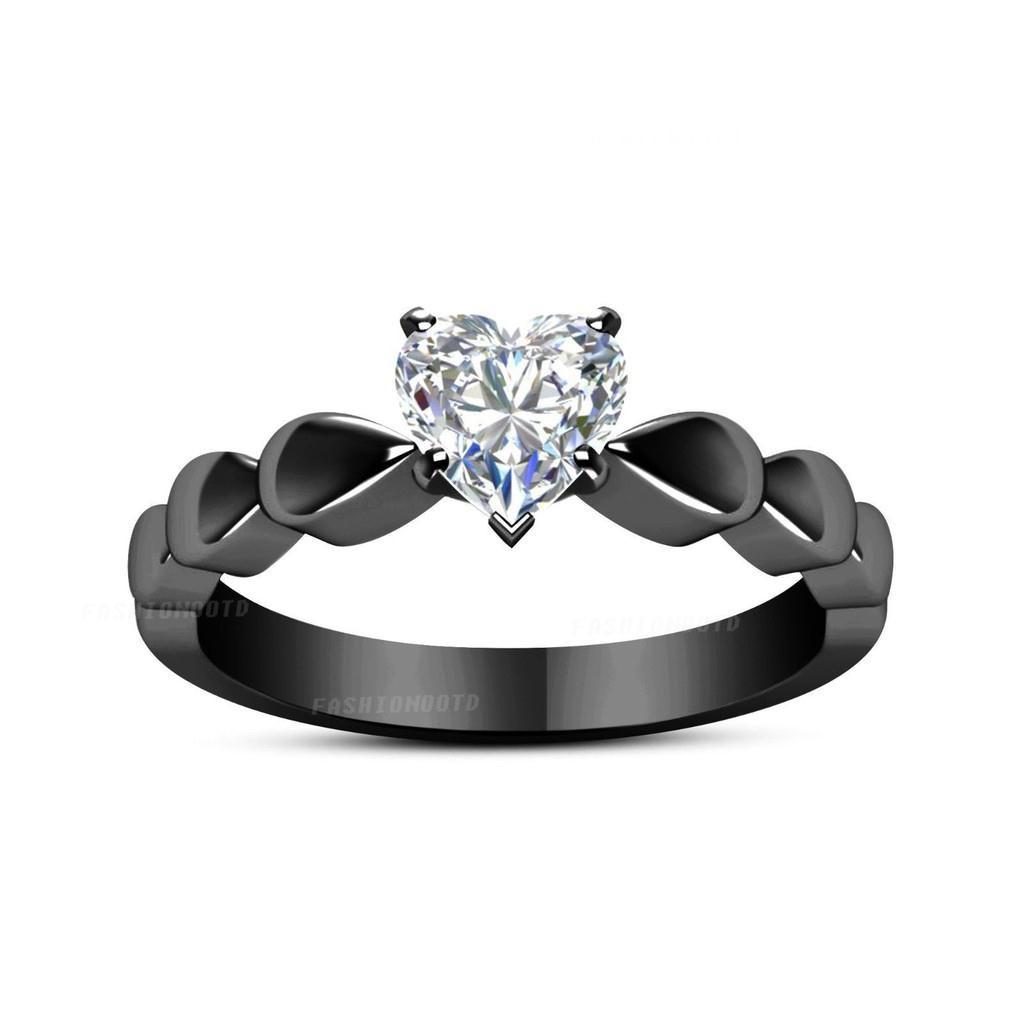 Heart Diamond Black Gold Ring Lover Engagement Wedding Rings Shopee Indonesia