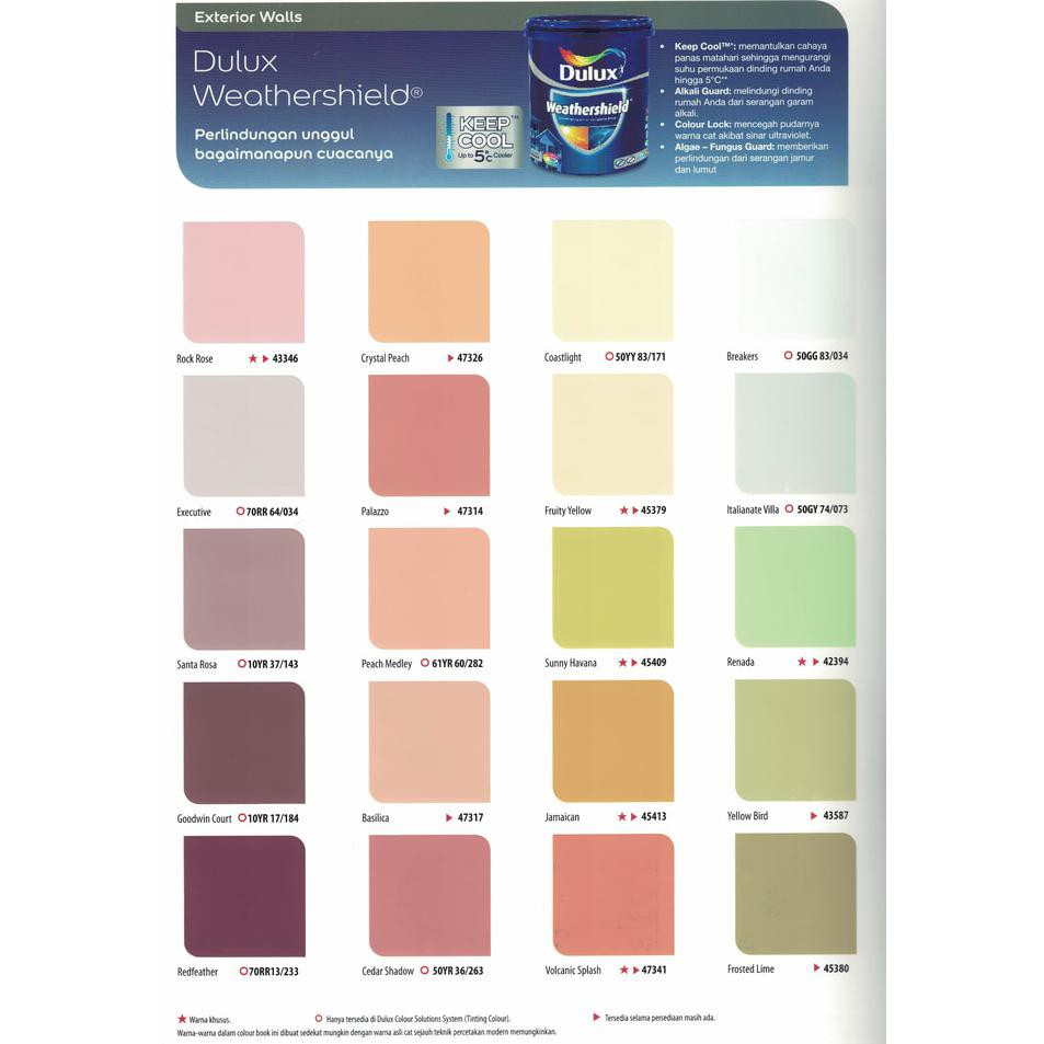 New Produk Cat Tembok Dulux Weathershield 2 5 Liter Warna