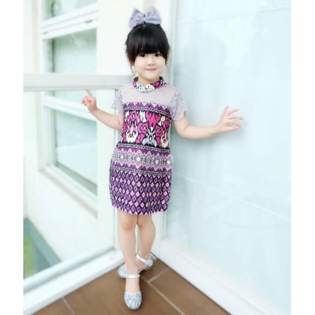Foto Baju Batik Anak Modern Ethnickidswear Cheongsam Dress Batik Anak Batik Modern Shopee