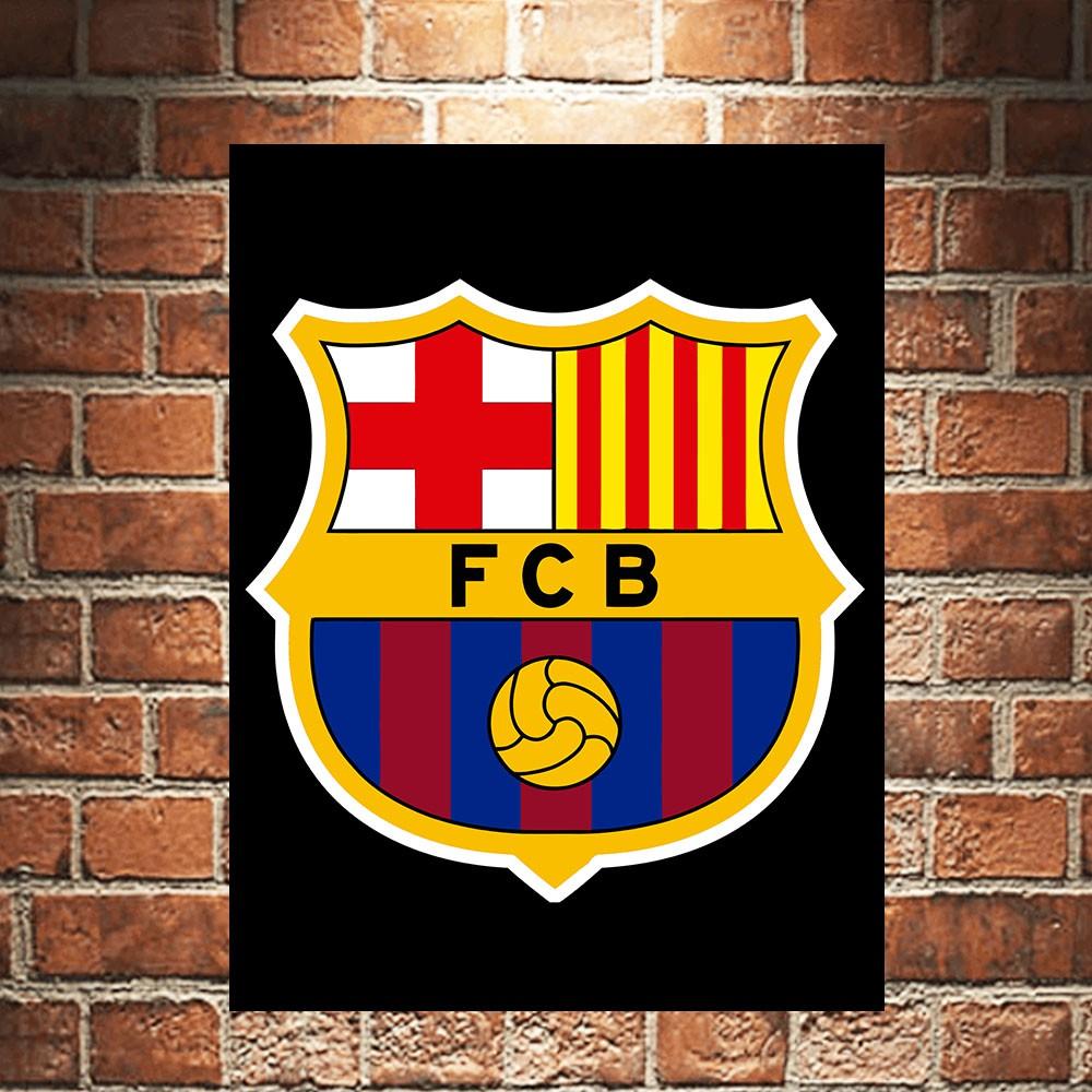 FCB Barca Barcelona Poster Kayu Pajangan Dekorasi Dinding Football Sepakbola Walldecor Wallpaper