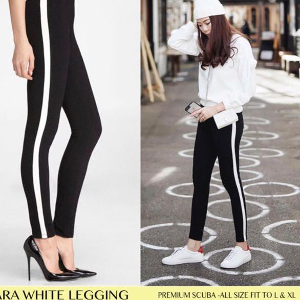 ɔ 7 Michellestore Celana Legging Super Stretch List Samping Bahan Scuba Shopee Indonesia