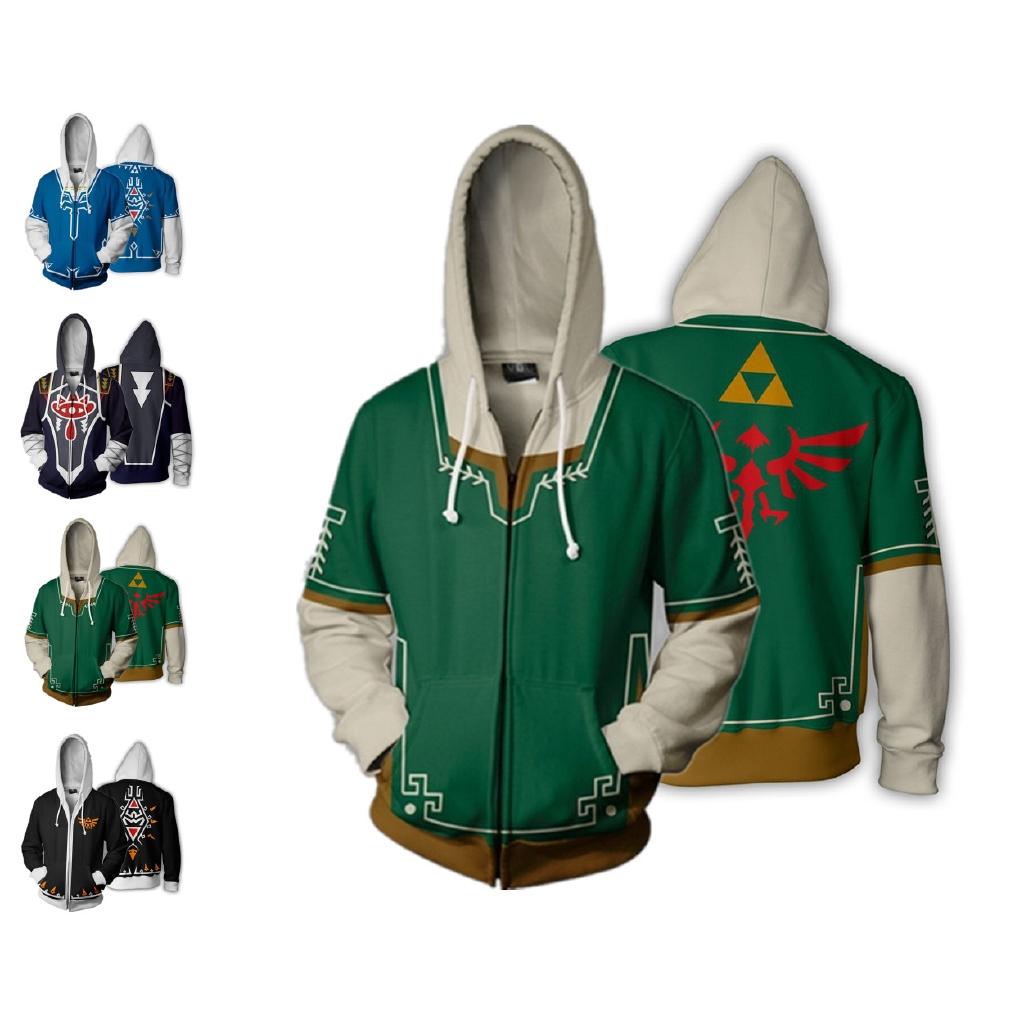 Mens The Legend of Zelda Pullover Hoodie Cosplay Sweatshirt Zipper Coat Jacket