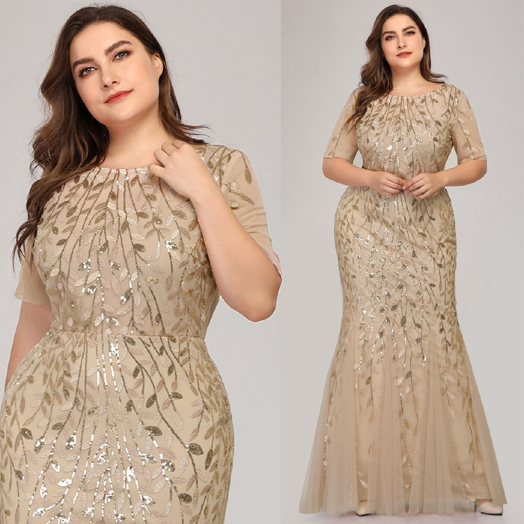 ever pretty long dress maxi mermaid lengan panjang aksen payet untuk  wanita/pesta pernikahan , ukuran besar 7707