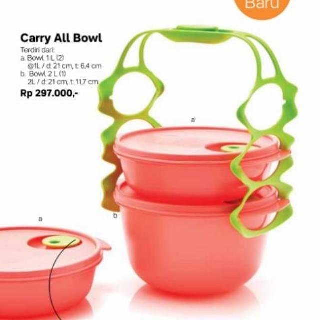 Tupperware Carry All Bowl Merah BONUS small fresh n fancy CarryAllBowl CAB | Shopee Indonesia