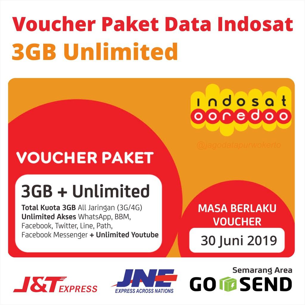 Voucher Paket Data Indosat 3gb Unlimited Shopee Indonesia Kuota
