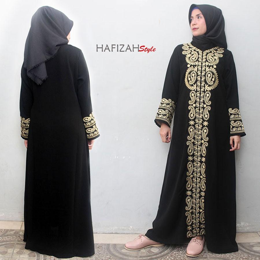 Sale Gamis Abaya Hitam Exclusive Pesta Bordir Arab Gold Full Amirah Style Shopee Indonesia