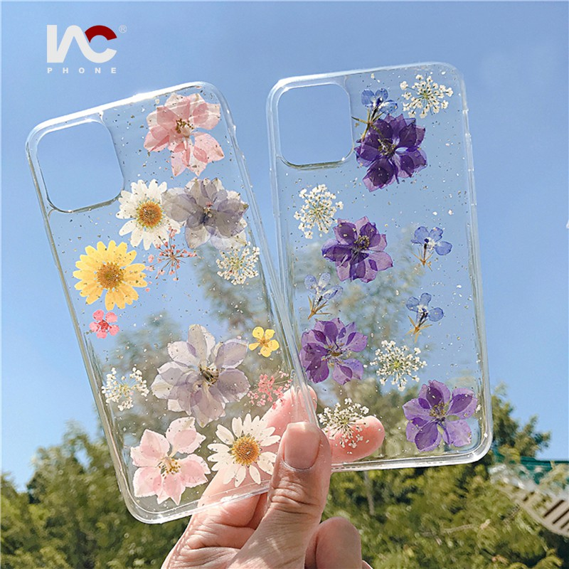 dried flower case,iPhone x 6 6s 7 8 Plus se Xr Xs MaxSamsungHuaweiOPPOVIVO iPhone 12 pro maxHand Pressed Flower case