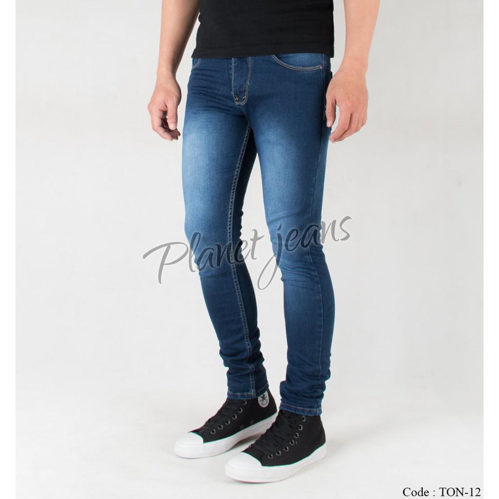 Celana Jeans Panjang Skinny FIt Pria Biru Tua Denim Cowok Skiny Pensil Blue Washed TON12