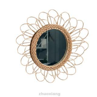 cermin gantung bahan rotan bambu ukuran 40cm untuk