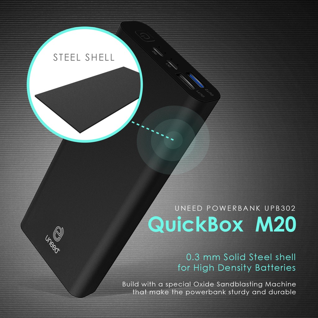 Uneed Quickbox M20 Powerbank 20000mah Quick Charge 30 Shopee Hippo Ilo Cf202 Car Charger Simple Pack Fast Charging Indonesia