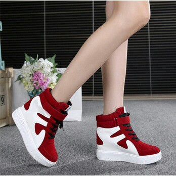 boots sapi merah AA - BS02 sepatu  wanita boots flat suede