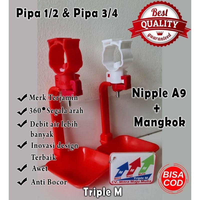 Nipel A9 mangkok Nepel Nipel Nipple Tempat Minum Ayam Petelur Broiler Puyuh Layer, A5 mangkok