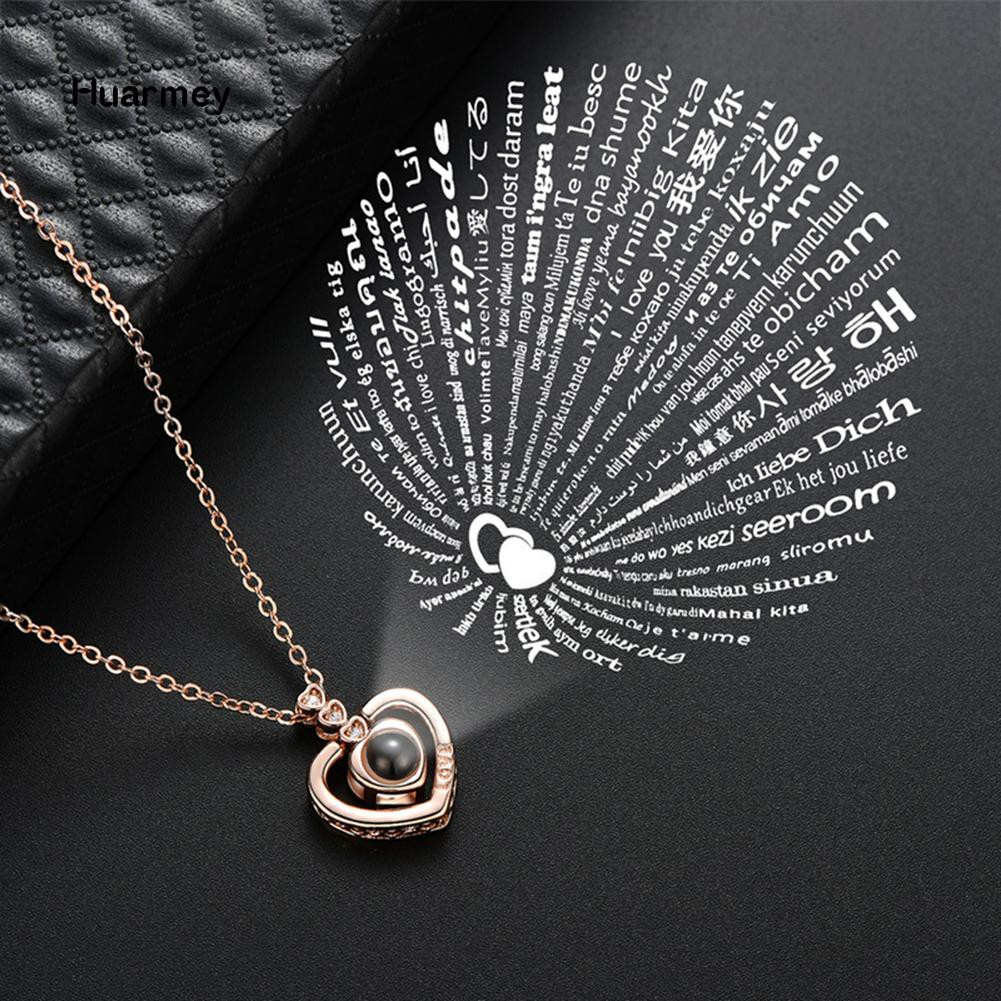 Fashion Hundred Languages I Love You Flower Projection Pendant Necklace Jewelry   Shopee Indonesia