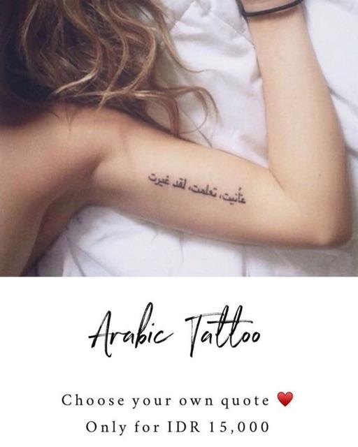Custom Arabic Tattoo Bisa Kirim Di Notes Chat Tulisan Arab Yg Diinginkan Shopee Indonesia
