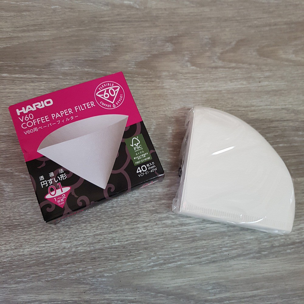 Cafec Abaca AC1-100W Filter Paper V60 01 White isi 100pcs - 100 pcs | Shopee Indonesia