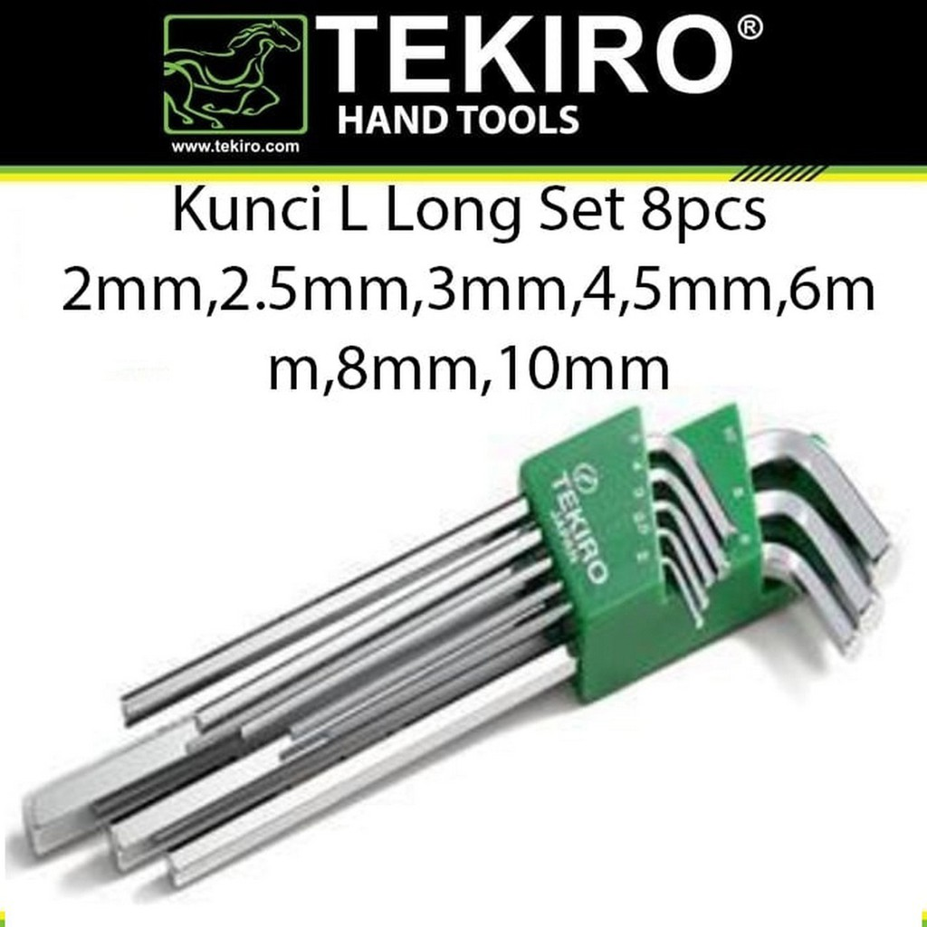 KUNCI L SET PANJANG 8 PCS TEKIRO HEX KEY LONG SET HK-LS1200 | Shopee Indonesia