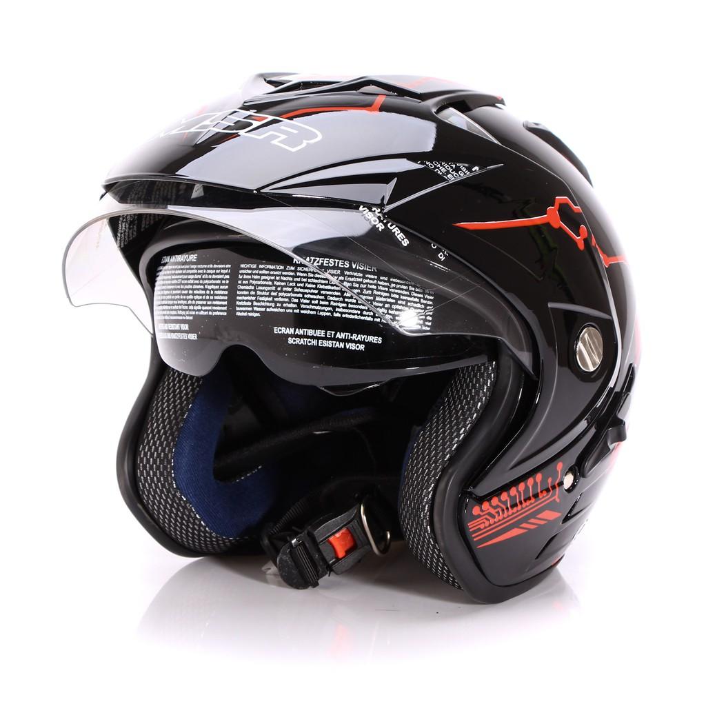 Helm Dewasa Msr Helmet Impressive Protect Double Visor Hitam Cantik Merah Shopee Indonesia