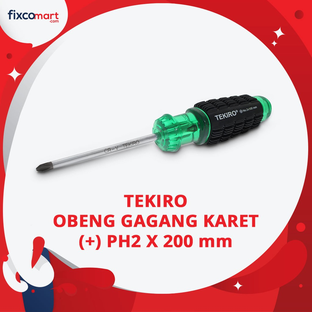 Tekiro Cushion Grip Screwdriver / Obeng Gagang Karet PH2 X 125 mm | Shopee Indonesia