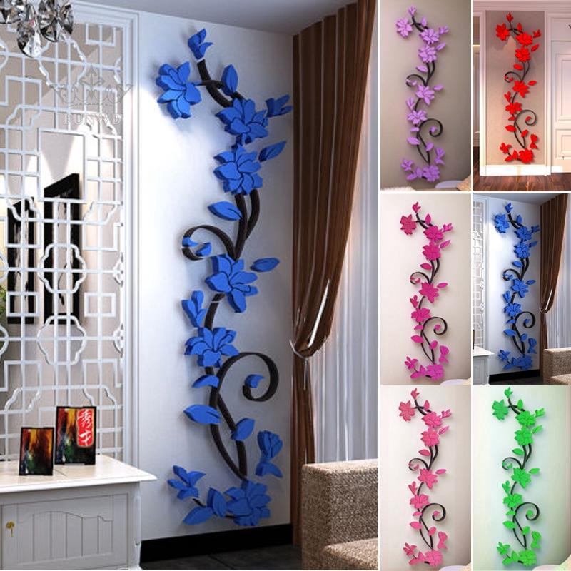 3d Flower Home Wall Decor Vinyl Removable Sticker Quote Bar