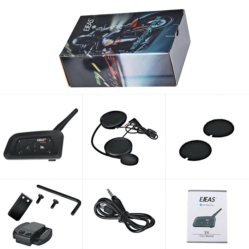 Ejeas V6 Pro Bluetooth Motorcycle Intercom Helmet Headset 1200m Interphone 830mah Vnetphone V6 Shopee Indonesia