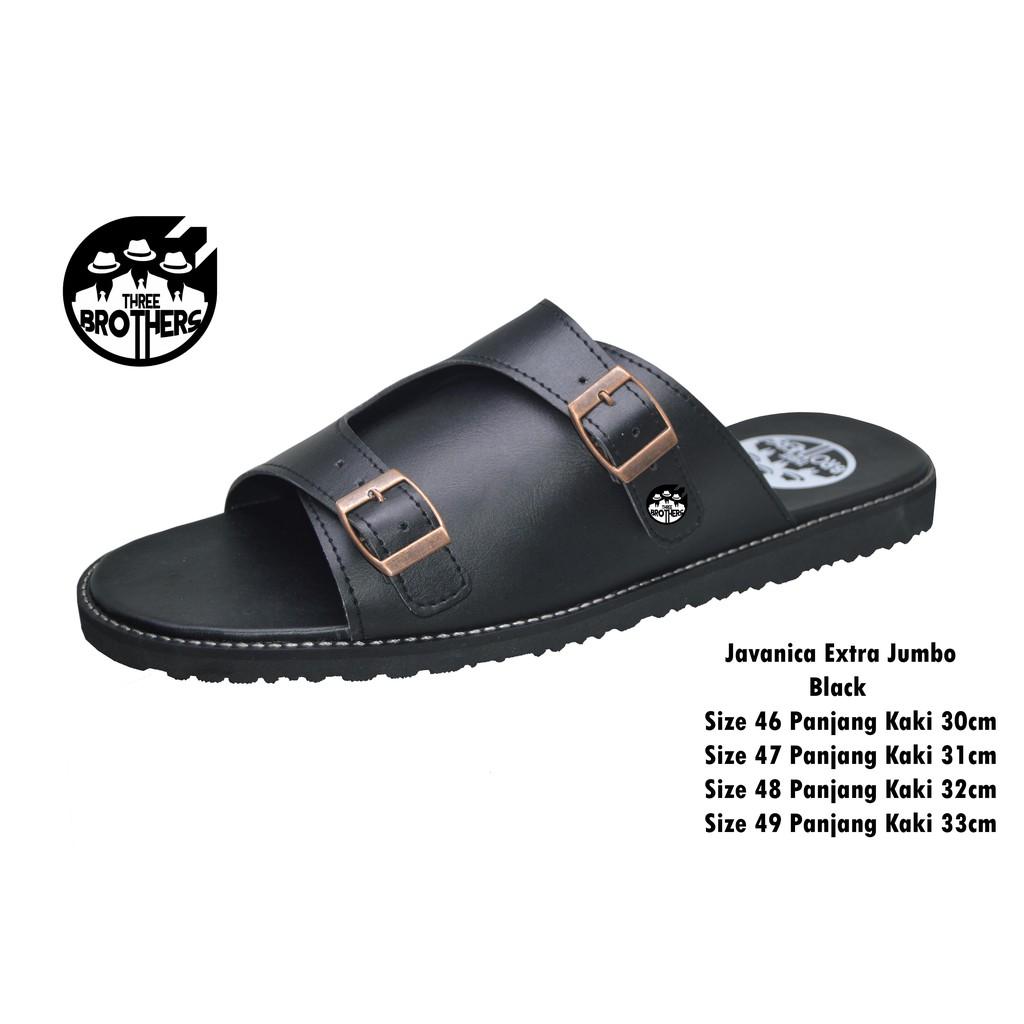 Sandal Pria Big Size 44 45 46 Sendal Kulit Jumbo Catenzo Outdoor Full Black Flip Flop Birkenstock Shopee Indonesia