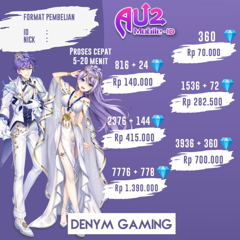 Au2 Mobile ID Top up diamond