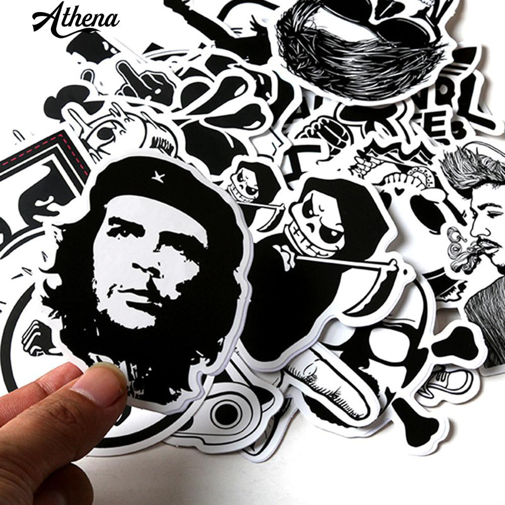 Bayar Di Tempat 60 Pcs Set Hitam Dan Putih Kartun Graffiti Mobil
