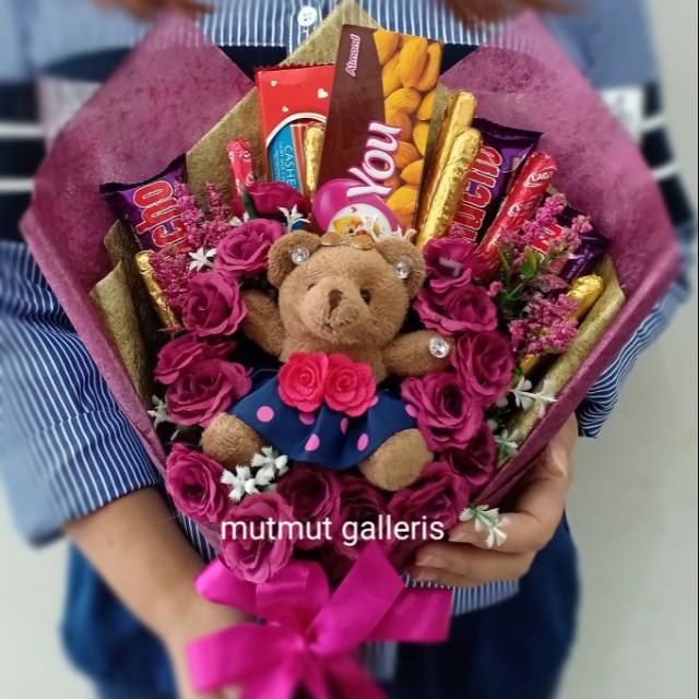 Buket Bunga Coklat Boneka Bandung Murah Unik Teddy Bear Purple Lovers Untuk Kado Ultah Wisuda Shopee Indonesia
