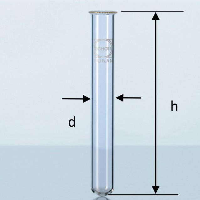 TABUNG REAKSI 34ml.20x150mm. Beaded Rim. Test Tube.DURAN