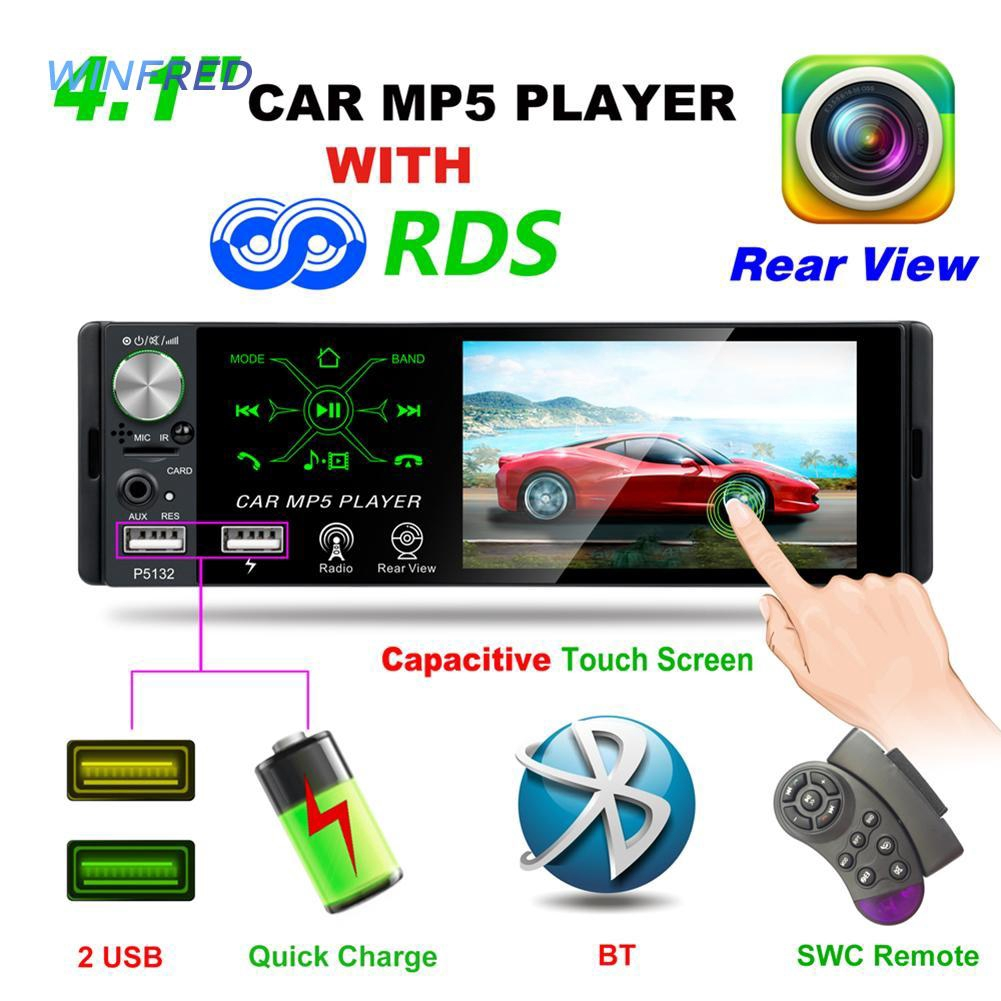 1DIN 50W x 4 FM Car Receiver Stereo LED Display SD USB MP3 WMA Radio Player US